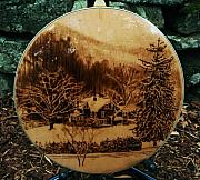 On Paper Pyrography Originals - The Old House - Custom Banjo Resonator by Dino Muradian