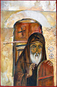 Orthodox Painting Originals - The Old Iconogragher by Mary jane Miller