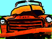 Domestic Trucks Posters - The Old Jalopy . 7D8396 . Color Sketch Style Poster by Wingsdomain Art and Photography