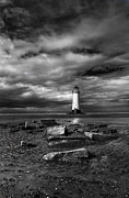 Beach. Black And White Posters - The Old Lighthouse  Poster by Adrian Evans