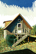 Log Cabin Mixed Media Prints - The old log cabin guesthouse Print by David Esslemont