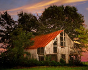 Country Scene Prints - The Old Lowdermilk Barn - red roof barn rustic country rural antique Print by Jon Holiday