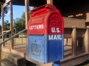 Red White And Blue Digital Art Prints - The old mailbox Print by David Lee Thompson