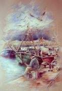 Costa Drawings Posters - The Old Man and The Sea 02 Poster by Miki De Goodaboom