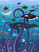 Whale Paintings - The Old Man and the Sea Monster by Christy Beckwith
