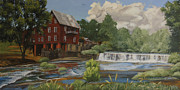 Egg Tempera Paintings - The Old Mill at Shoulderbone by Peter Muzyka