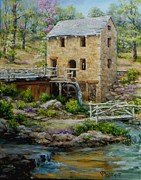 Old Mills Painting Framed Prints - The Old Mill in Spring Framed Print by Virginia Potter