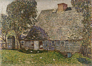 Country Cottage Framed Prints - The Old Mulford House Framed Print by Childe Hassam