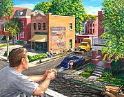 Old Houses Painting Posters - The Old Neighborhood Poster by Edward Farber