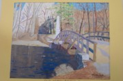 Concord Mass Painting Metal Prints - The Old North Bridge in Concord MA Metal Print by William Demboski
