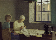 Mending Metal Prints - The Old Nurse Metal Print by Frederick Cayley Robinson