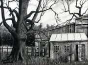 Fence Drawings - The Old Place by Bob Crawford