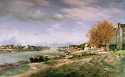 Autumn Landscape Painting Prints - The old quay at Bercy Print by Jean Baptiste Armand Guillaumin