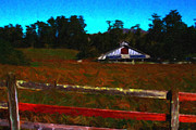 Nightime Prints - The Old Ranch At Dusk . Painterly Style Print by Wingsdomain Art and Photography