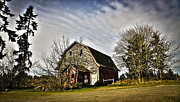Horse And Buggy Prints - The Old Red Barn Print by Steve McKinzie