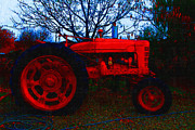 Farm Equipment Digital Art - The Old Red Tractor . 7D10320 by Wingsdomain Art and Photography