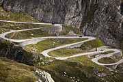 Mountain Road Framed Prints - The Old Road To Gotthard Pass Framed Print by Buena Vista Images