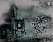 Foggy Digital Art Posters - The Old Ruins Poster by Cheryl Young
