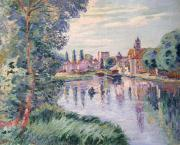 Reflecting Trees Paintings - The Old Samois by Jean Baptiste Armand Guillaumin