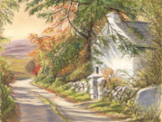 Fall Prints Paintings - The Old School House Galway by Irish Art