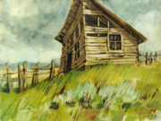 Old Buildings Paintings - The Old Shed by Steve Spencer