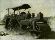 Old Pyrography Prints - The Old Steam Roller Print by Christo Christov