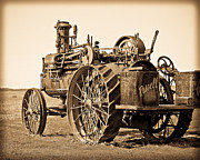 Sephia Photo Framed Prints - The Old Steam Tractor Framed Print by Steve McKinzie