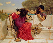 Courting Posters - The Old Story Poster by John William Godward