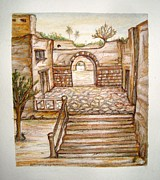 Watercolor  Reliefs - The Old Street  by Abbas Djamat