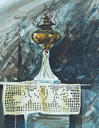 Oil Lamp Originals - The Old Table Cloth by Len Stomski