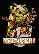Hulk Digital Art Posters - The Old Time-y Avengers Poster by Brian Kesinger