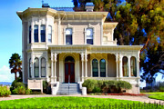 Vintage House Prints - The Old Victorian Camron-Stanford House in Oakland California . 7D13440 Print by Wingsdomain Art and Photography