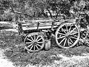 Pencil Sketch Photo Prints - The Old Wagon Print by Douglas Barnard