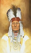 Art  Portraits Paintings - The Old War Chief by Stacy Drum
