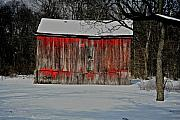 Old Barns Mixed Media Posters - The Old Weathered Barn Poster by Robert Pearson