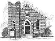 Old Church Drawings Posters - The Old Weslyan Church  Poster by Barney Hedrick
