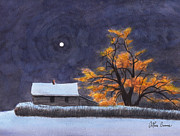 Winter Scene Paintings - The Old Willow by Arthur Barnes