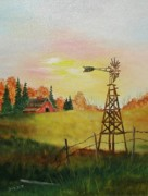 Old Barn Paintings - The Old Windmill by Darlene Prowell