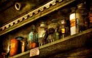 Antique Bottles Posters - The Olde Apothecary Shop Poster by Lois Bryan