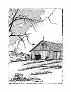 Barn Pen And Ink Drawings Framed Prints - The Ole Barn. Framed Print by Richard Brooks