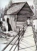 Old Mills Drawings - The Ole Millhouse by Cheryl Poland
