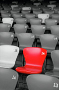 Red And White Stadium Seats Prints - The One Print by George Oze