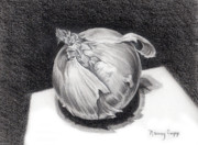 Vegetables Drawings Framed Prints - The Onion Framed Print by Nancy Cupp