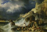 Storms Painting Framed Prints - The Onslaught of the Smugglers Framed Print by Louis Eugene Gabriel Isabey