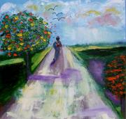 Crows Paintings - The Open Road by Rusty Woodward Gladdish