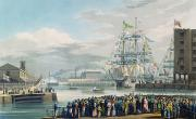Warehouses Framed Prints - The Opening of Saint Katharine Docks Framed Print by Edward Duncan