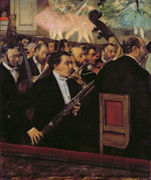 C Posters - The Opera Orchestra Poster by Edgar Degas