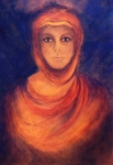 Spiritual Portrait Of Woman Painting Metal Prints - The Oracle Metal Print by Marina Petro
