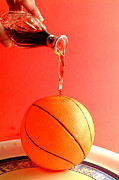 Basket Ball Posters - The Orange Ball Poster by Sree Kumar