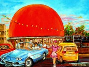 Cafes Painting Posters - The Orange Julep Montreal Poster by Carole Spandau
